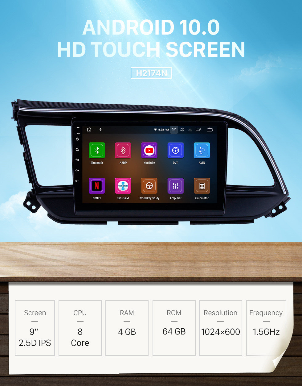 Seicane Android 10.0 9 inch GPS Navigation Radio for 2016 Hyundai Elantra LHD Head Unit Stereo with Carplay Bluetooth WIFI USB AUX support DVR Steering wheel control