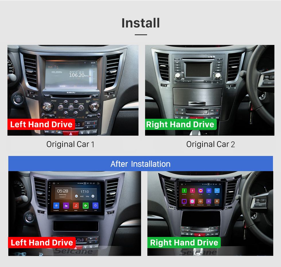 Seicane OEM 9 inch Android 10.0 Radio for 2010-2014 Subaru Outback LHD Bluetooth Wifi HD Touchscreen GPS Navigation Carplay USB support 4G SWC RDS OBD2 Digital TV