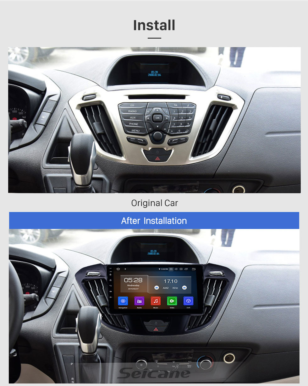 Seicane Android 10.0 9 inch Bluetooth Radio for 2017 Ford JMC Tourneo High Version HD Touchscreen GPS Navi Audio with Carplay USB WIFI support RDS 4G DVD Player