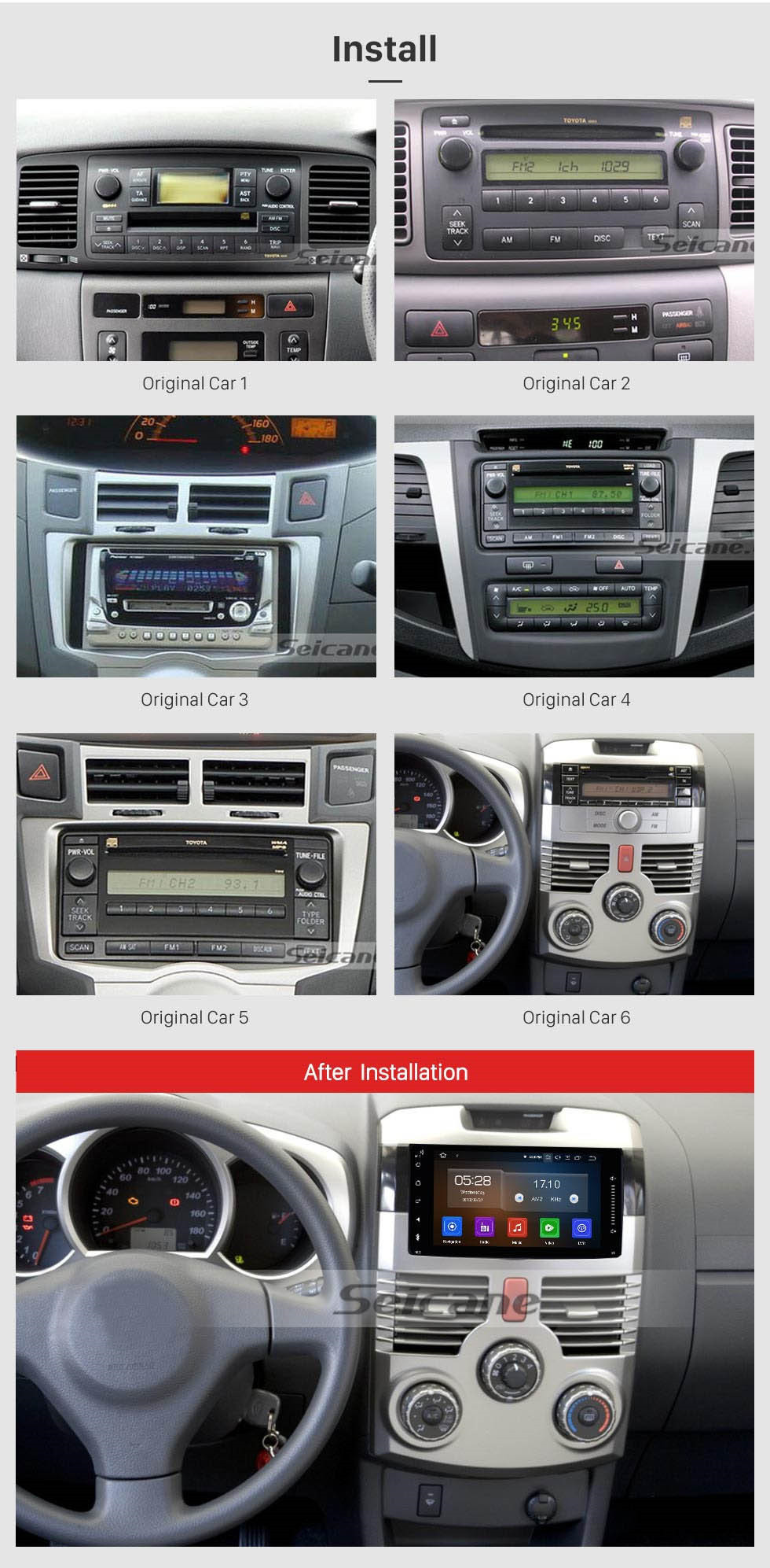 Seicane Full touchscreen 2003-2010 Toyota  Avanza Android 10.0 Radio GPS navigation system support Bluetooth Mirror link OBD2 TPMS DVR TV USB 4G WIFI Backup camera