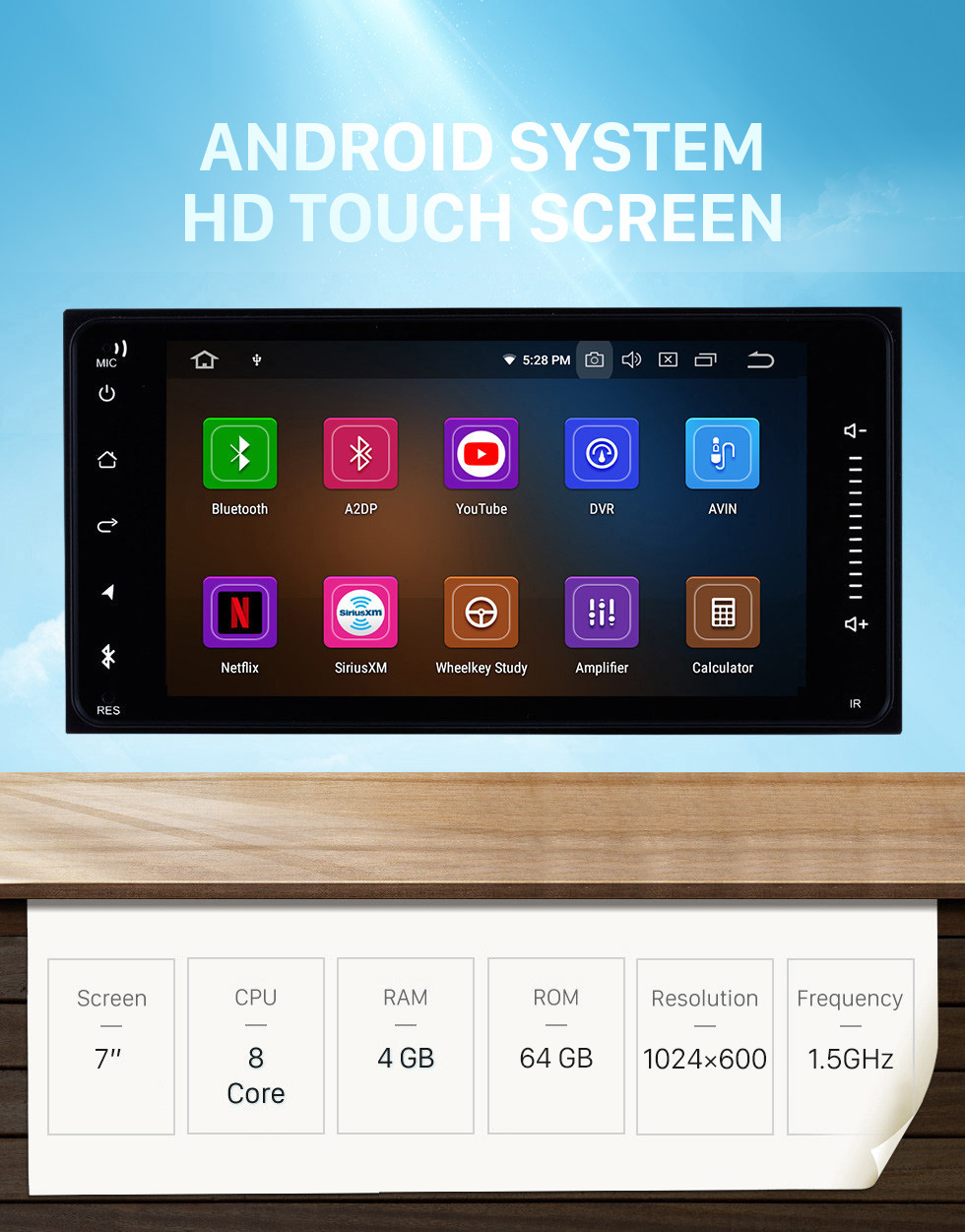 Seicane Toyota Universal Android 10.0 7 inch HD Touch Screen radio Bluetooth GPS Navigation system USB WIFI support TPMS DVR OBD II WiFi Rear camera Steering Wheel Control HD 1080P Video AUX