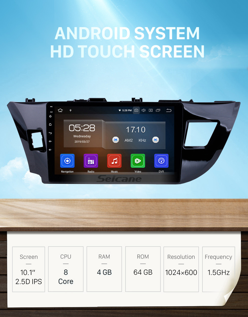 Seicane OEM 10.1 inch Android 10.0 HD Touchscreen Bluetooth Radio for 2014 Toyota Levin with GPS Navigation USB FM auto stereo Wifi AUX support DVR TPMS Backup Camera OBD2 SWC