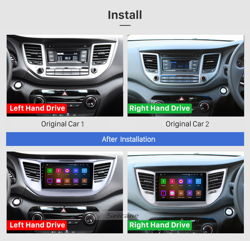 Seicane HD Touchscreen 9 inch Android 10.0 GPS Navigation Radio for 2014-2016 Tucson IX35 with AUX Bluetooth WIFI Carplay support 1080P Video DAB+