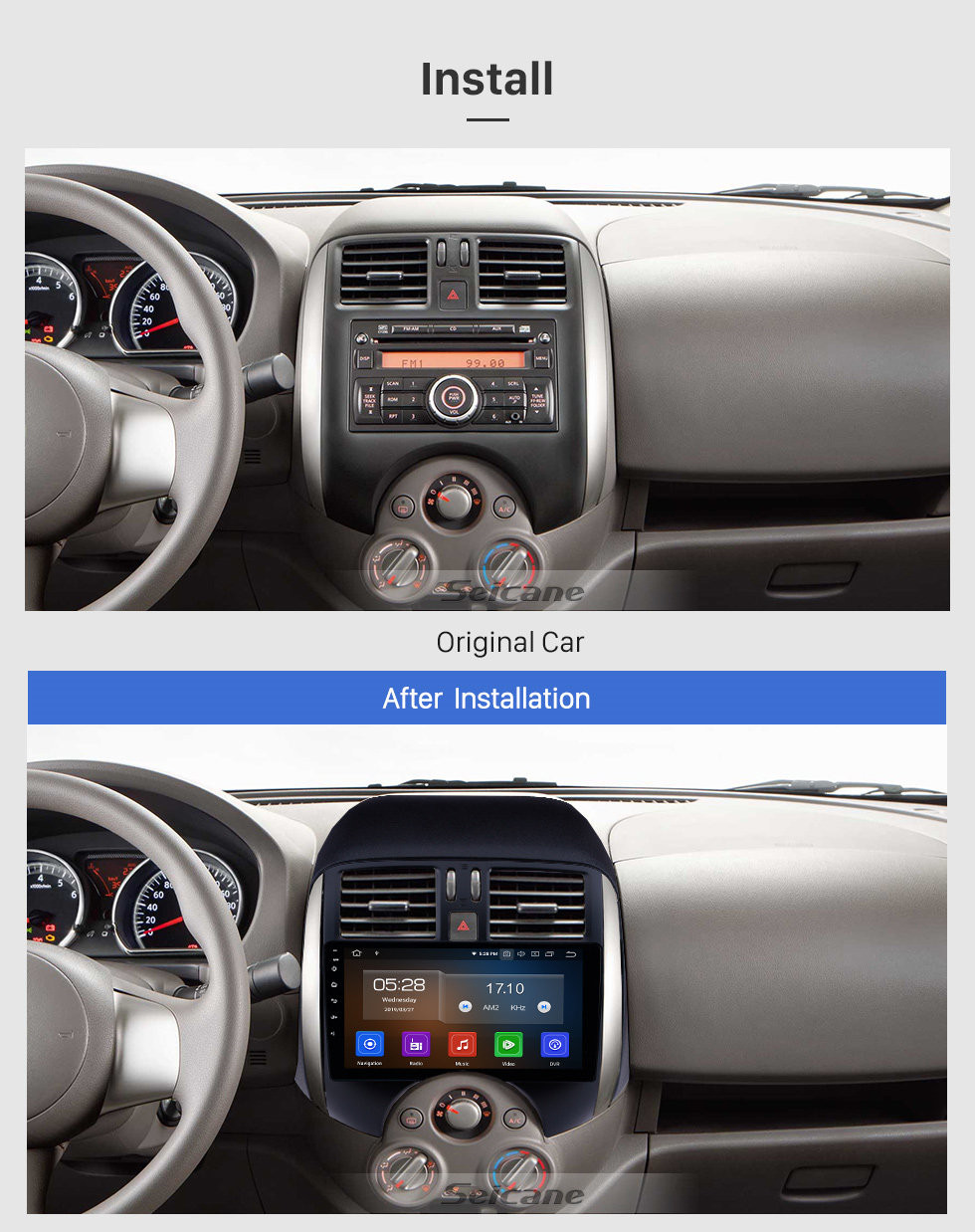 Seicane All in one Android 10.0 GPS Navigation 9 inch HD Touchscreen Stereo for 2011-2013 Nissan Old Sunny Bluetooth FM WIFI USB Steering Wheel Control USB Carplay AUX support DVR OBD2