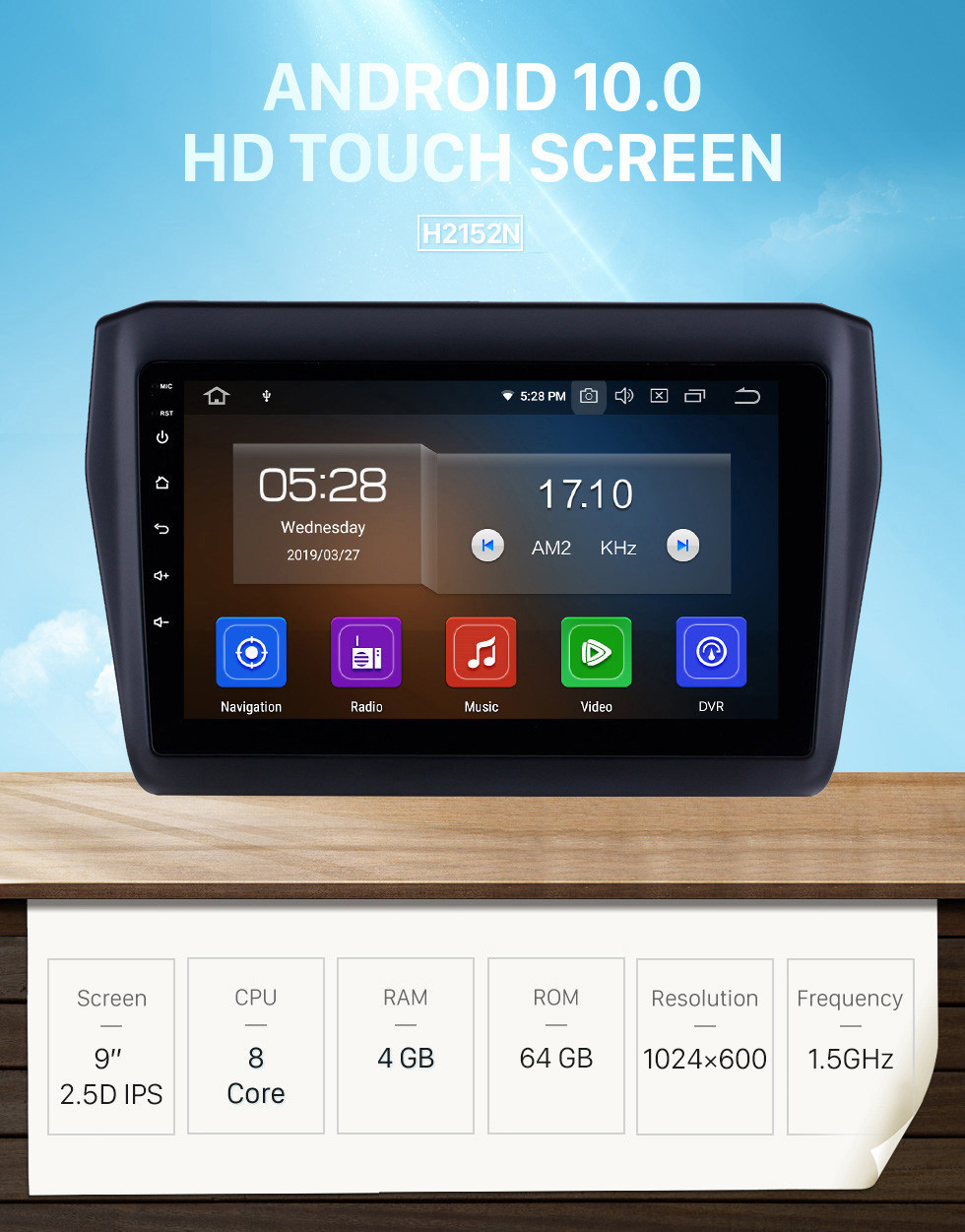 Seicane 2017-2019 SUZUKI Swift 9 Inch Android 10.0 HD Touchscreen Car Stereo GPS Navigation System Radio Bluetooth  WIFI  USB Support DAB+ OBDII SWC