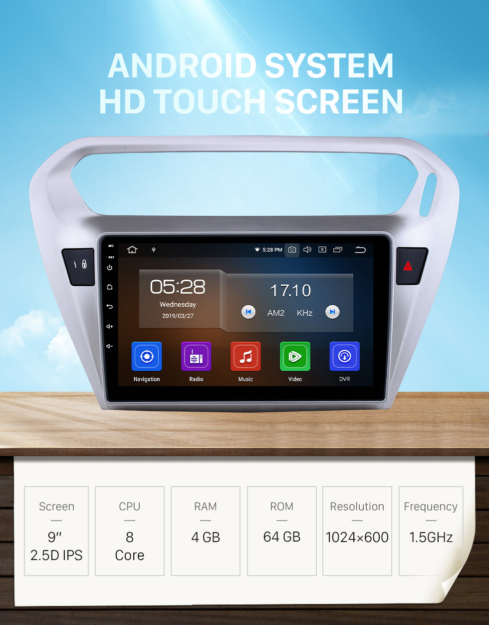 Seicane Android 10.0 9 inch GPS Navigation Radio for 2013 2014 Peugeot 301 Citroen Elysee Citroen C-Elysee Head Unit Stereo with Carplay Bluetooth USB AUX support DVR TPMS