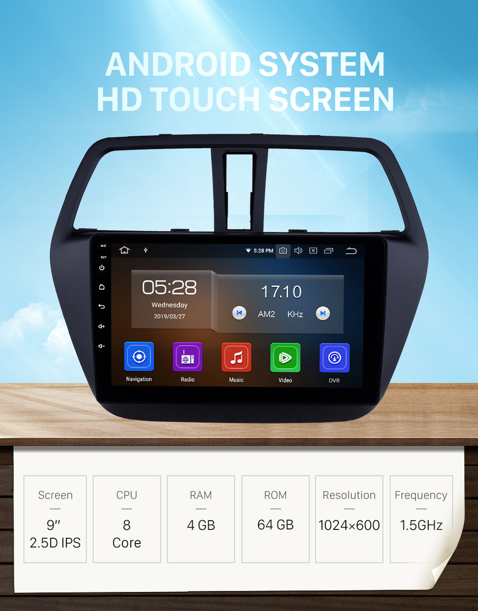 Seicane HD Touchscreen 2013-2016 Suzuki SX4 S-Cross Android 10.0 9 inch GPS Navigation Radio Bluetooth USB Carplay WIFI AUX support DAB+ Steering Wheel Control