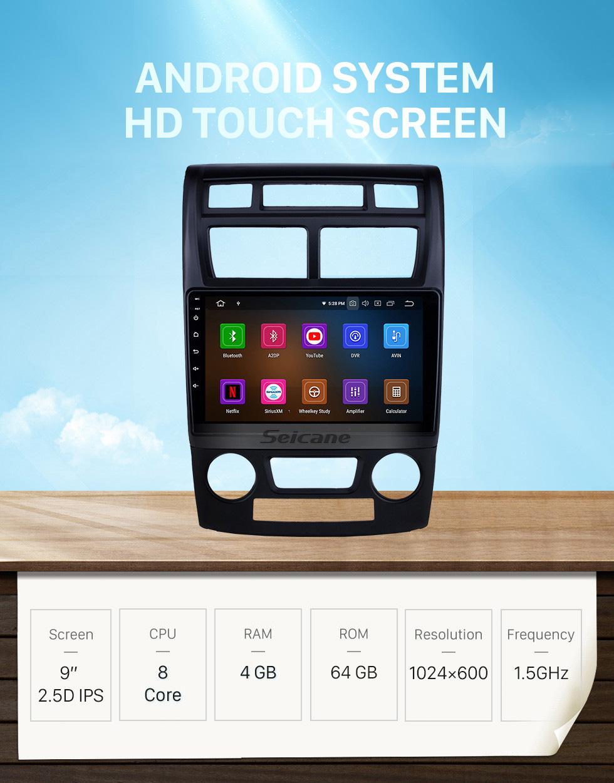 Seicane 2007-2017 Kia Sportage Manual A/C Android 10.0 9 inch GPS Navigation Radio Bluetooth HD Touchscreen USB Carplay Music support Steering Wheel Control