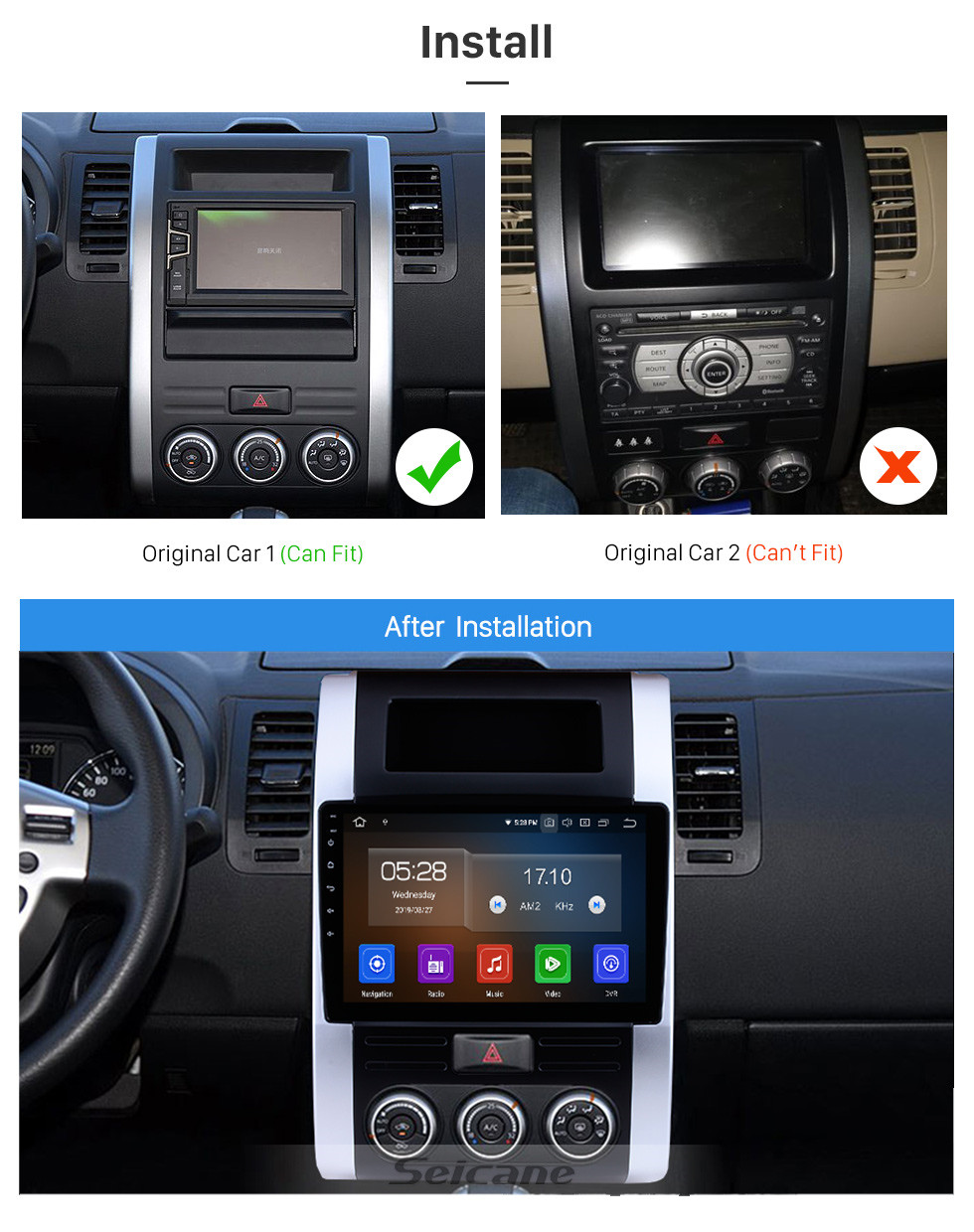 Seicane 10.1 inch 2008-2012 Nissan X-Trail XTrail X Trail T32 T31 Qashqai Dongfeng MX6 Android 10.0 GPS Navigation Radio Bluetooth Touchscreen Carplay support TPMS