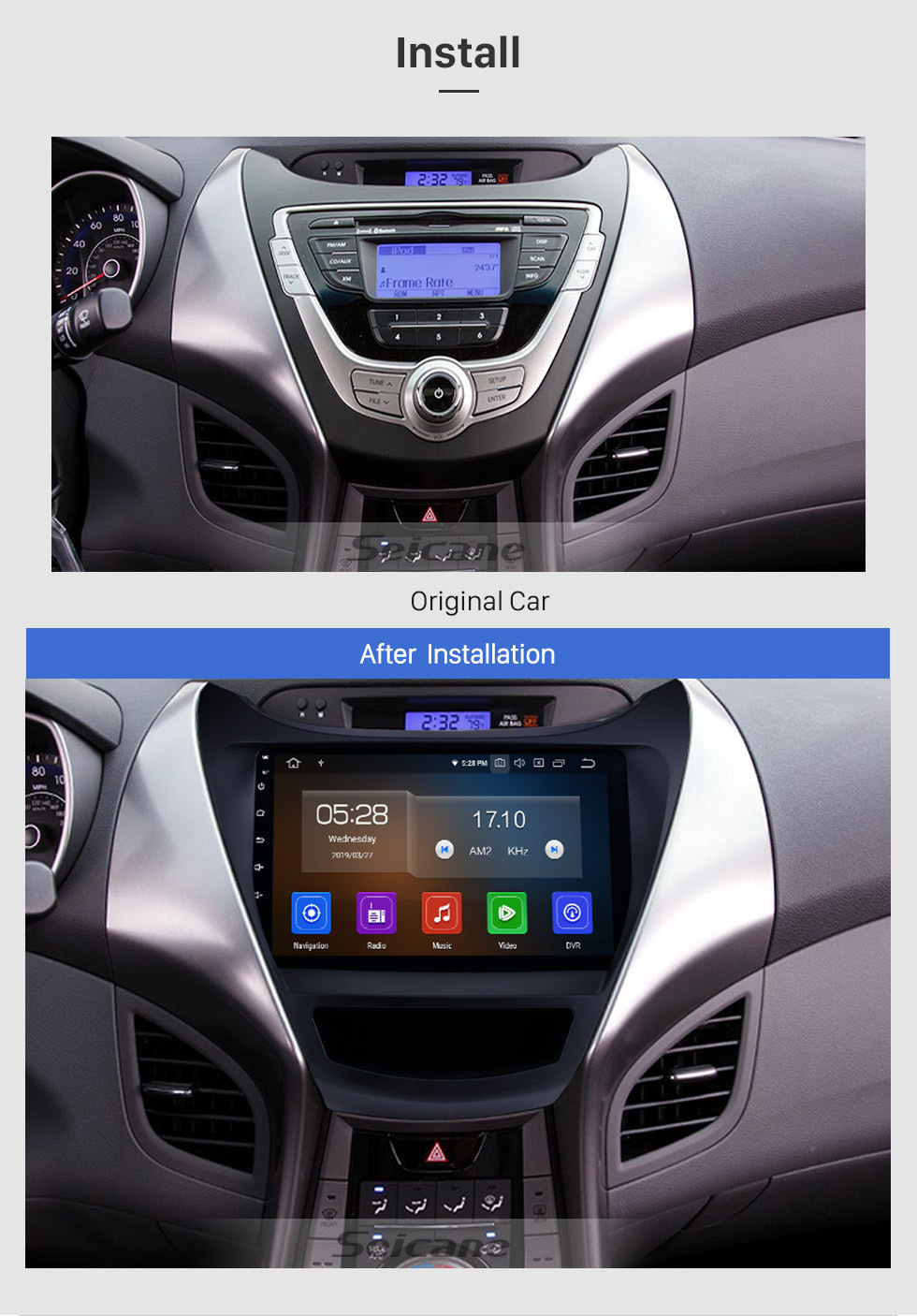 Seicane OEM 9 inch 2012 2013 Hyundai Elantra Android 10.0 Radio GPS  navigation system with HD 1024*600 touch screen Bluetooth OBD2 DVR Rearview camera TV 1080P Video 3G WIFI DVD player Steering Wheel Control USB Mirror link