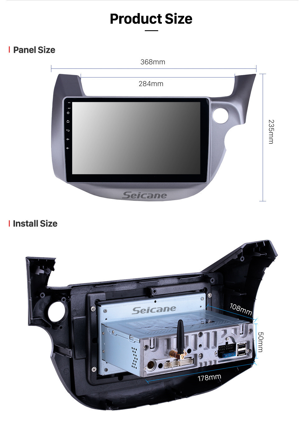 Seicane 2007-2013 Honda FIT Jazz RHD 10.1 inch Android 10.0 Multimedia Player with GPS Navi Radio USB 1024*600 Touchscreen Bluetooth AUX WIFI support DVD 4G SWC