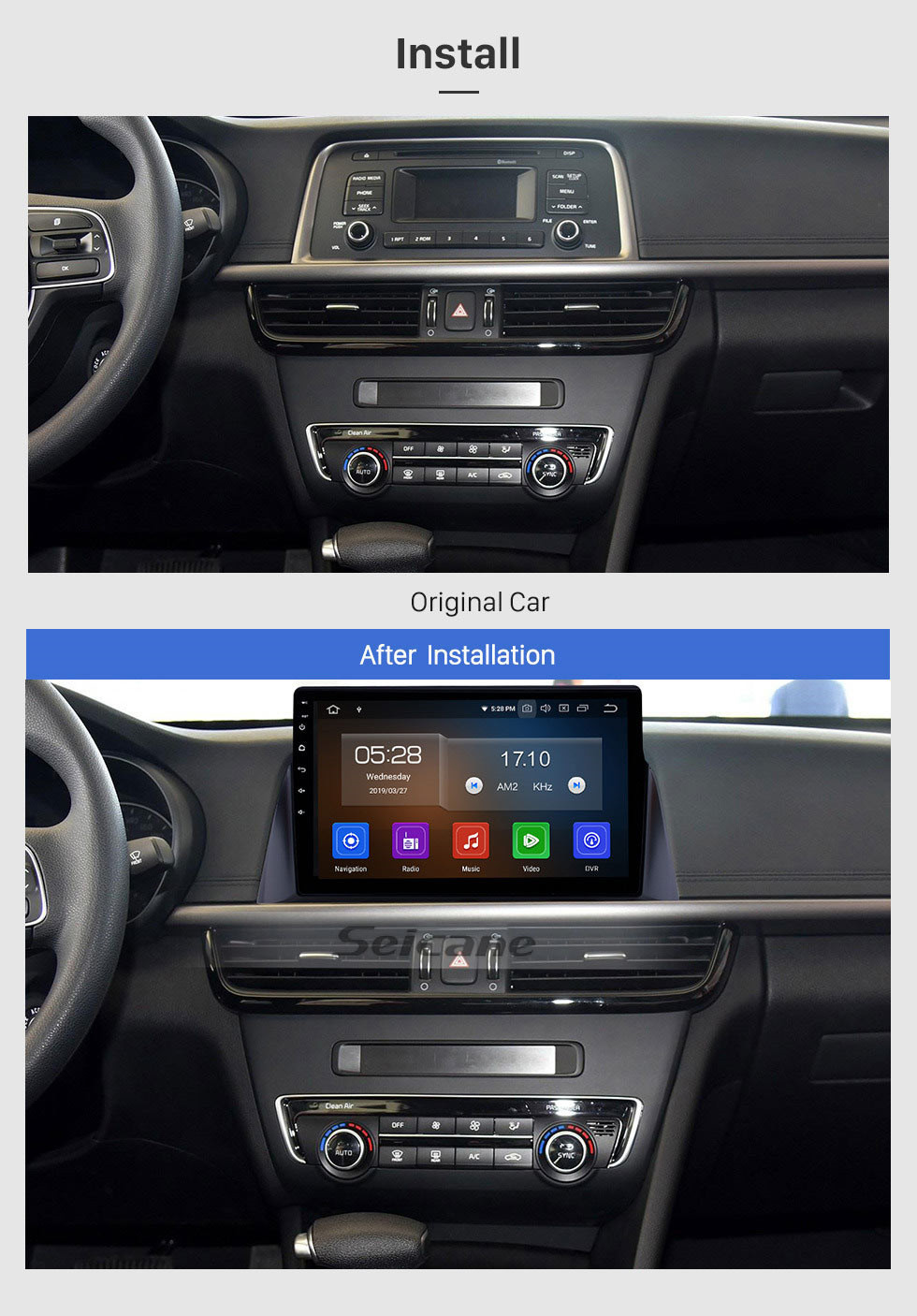 Seicane 2016 KIA K5 OPTIMA Radio Replacement with Android 10.0 DVD Player GPS Navigation System Touch Screen 3G WiFi Link Mirror OBD2 Video Control Steering Wheel USB SD Rear View Camera