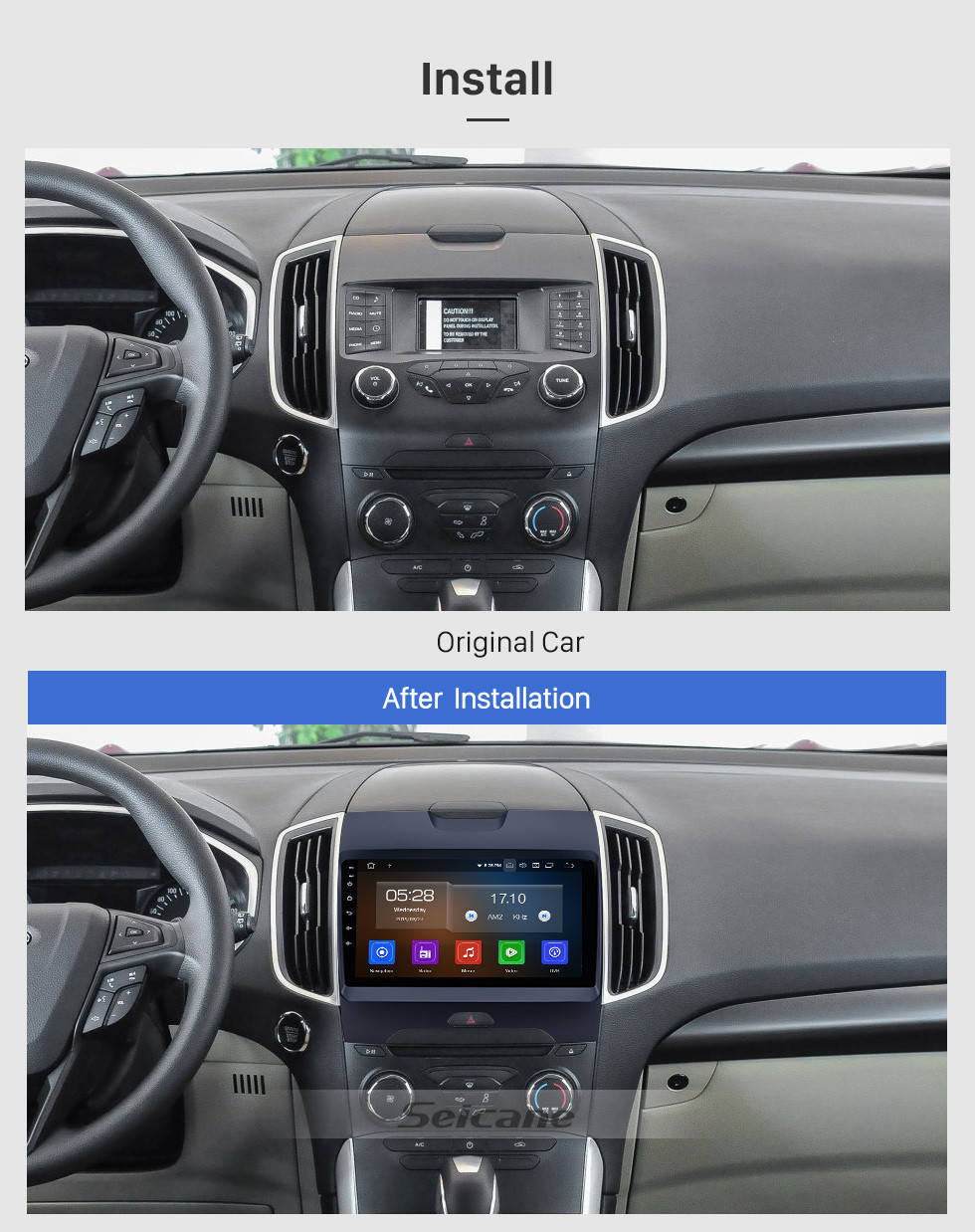 Seicane Android 10.0 HD Touchscreen 9 inch Radio for 2013-2017 FORD EDGE Bluetooth GPS Navi USB Carplay Support DVR Digital TV TPMS OBD 4G WIFI DVD Player SWC RDS
