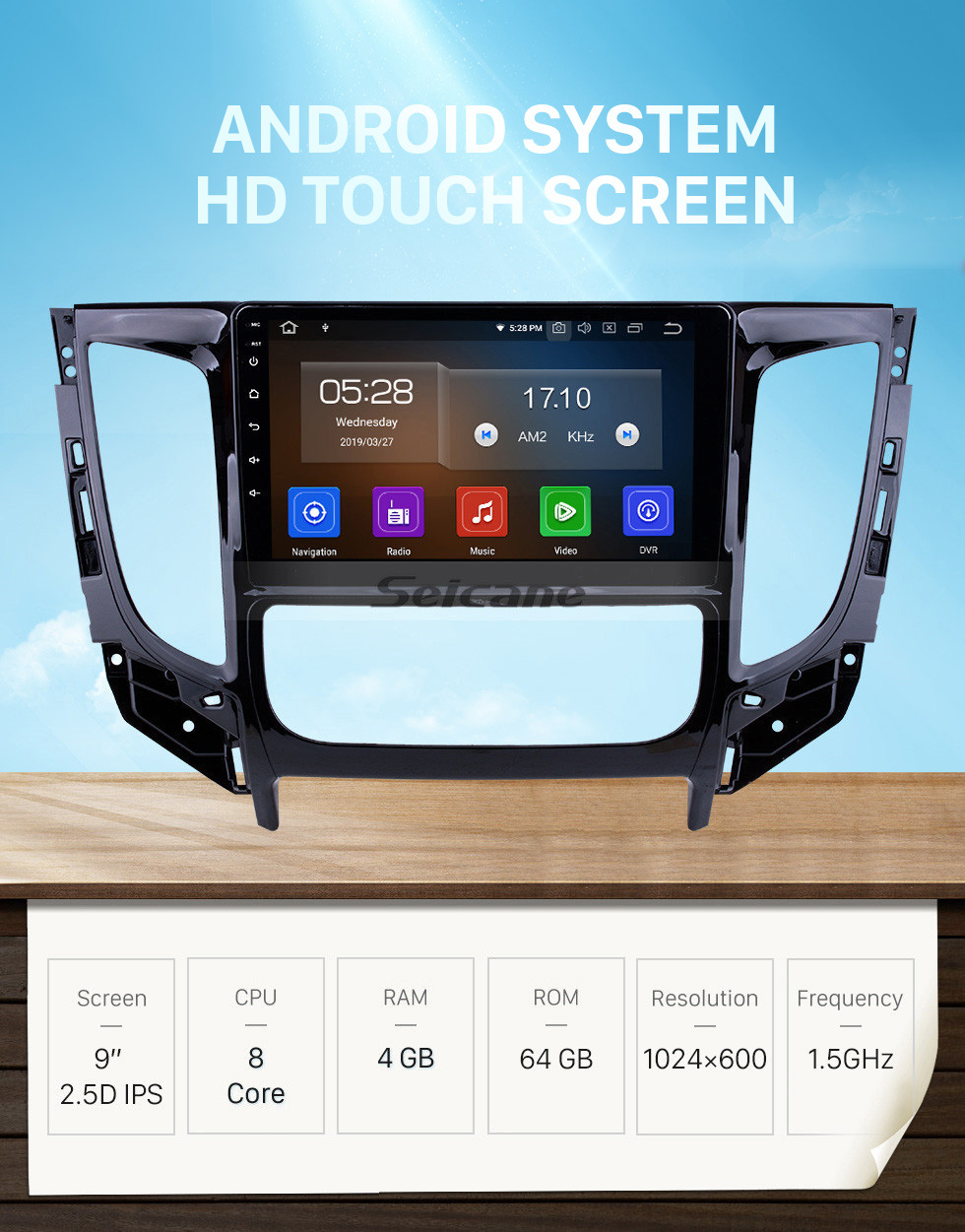 Seicane All in one Android 10.0 9 inch 2015 MITSUBISHI TRITON Auto A/C Radio with GPS Navigation Touchscreen Carplay Bluetooth USB support Mirror Link 1080P