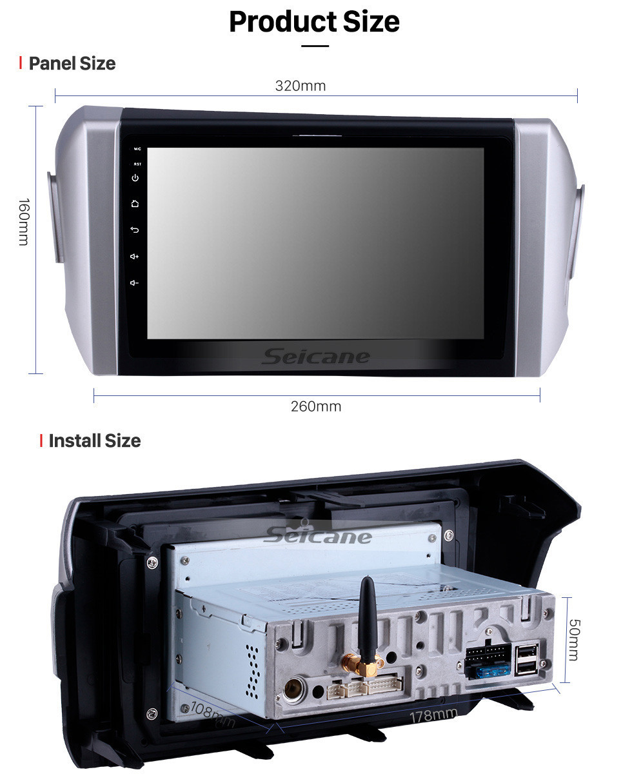 Seicane 2015-2018 Toyota innova LHD Android 10.0 9 inch GPS Navigation Radio Bluetooth HD Touchscreen USB Carplay Music support TPMS Steering Wheel Control