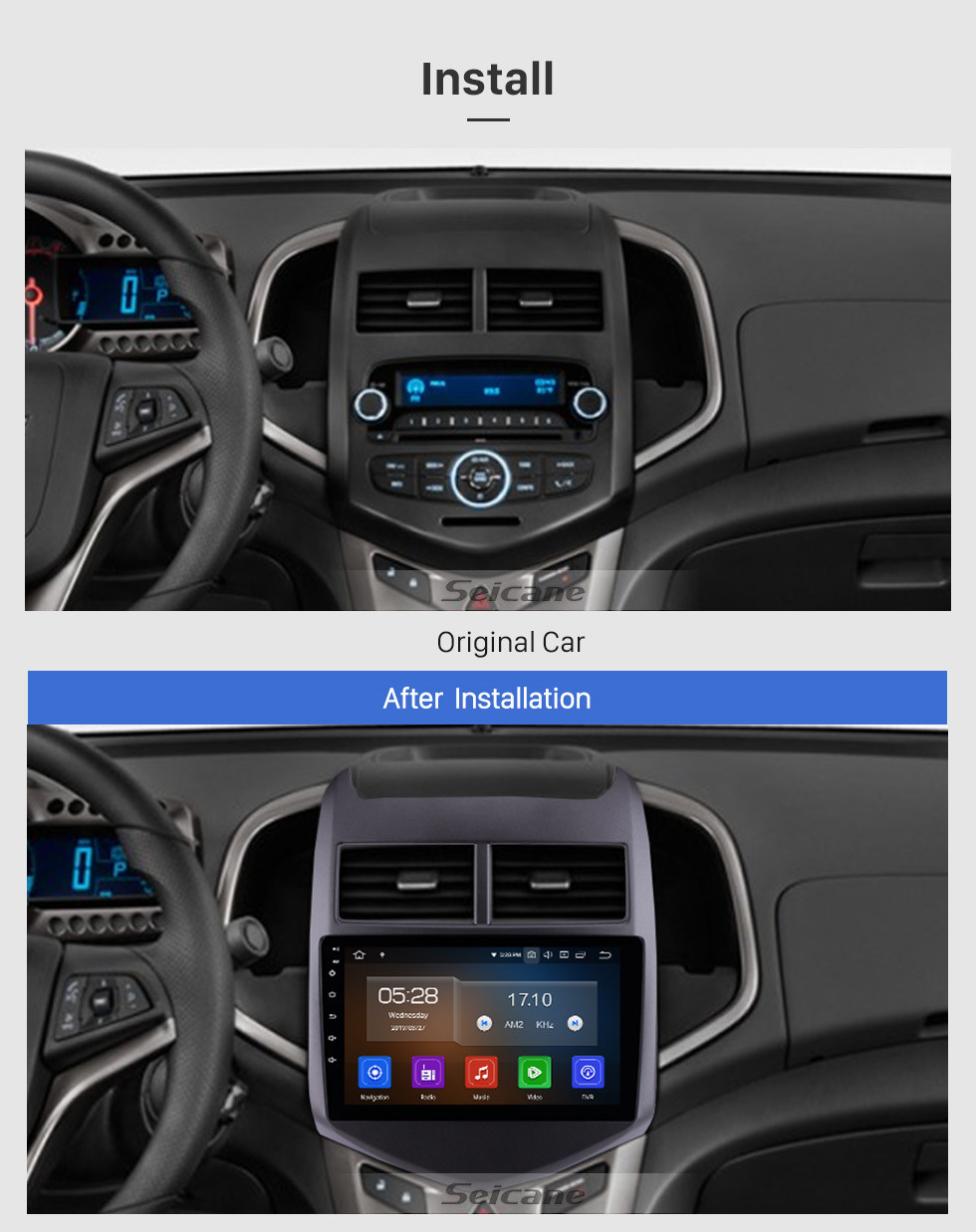Seicane 2010 2011 2012 2013 Chevy Chevrolet AVEO Car Radio Android 10.0 Radio GPS Navigation Bluetooth HD TouchScreen WiFi Mirror Link Rearview support DVR 1080P Video OBD DVD Player