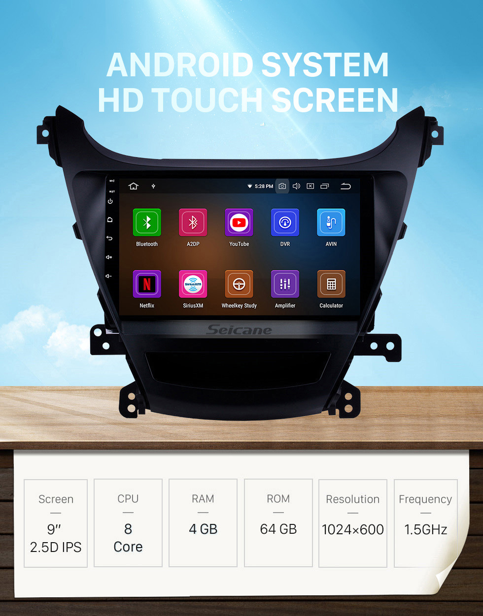 Seicane 9 inch Android 10.0 HD Touch Screen Radio for 2014-2015 Hyundai Elantra with GPS Navigation system Bluetooth USB WIFI OBD2 TPMS Mirror Link Rearview Camera