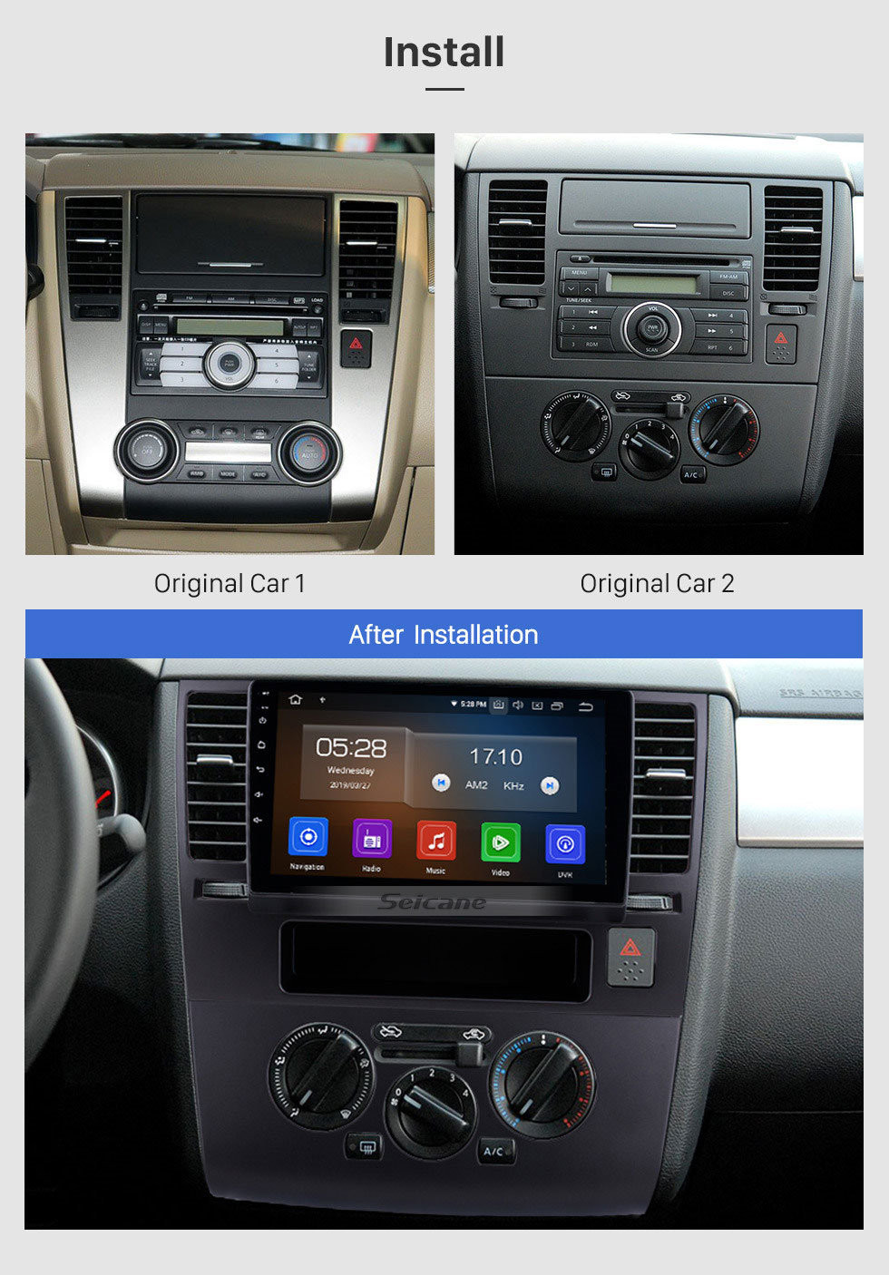 Seicane 9 Inch HD Touchscreen Radio GPS Navigation Android 10.0 2005-2010 Nissan TIIDA Blueooth Music Car Stereo Aux USB DAB+ Steering Wheel Control 4G/3G WiFi