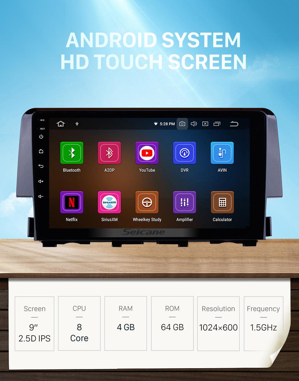 Seicane 2016 HONDA CIVIC 9 inch Android 10.0 Radio GPS Navigation Bluetooth USB WIFI 1080P Mirror Link Stereo support DVR OBD2