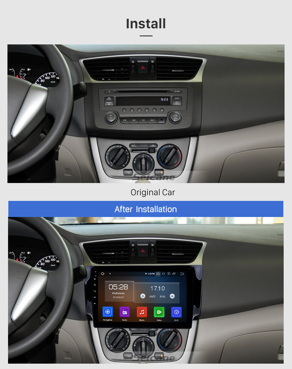 Seicane 10.1 inch HD TouchScreen Android 10.0 Radio GPS Navigation System for 2012 2013 2014 2015 2016 NISSAN SYLPHY Support Bluetooth 3G/4G WiFi TPM OBD2 DVR Backup Camera USB