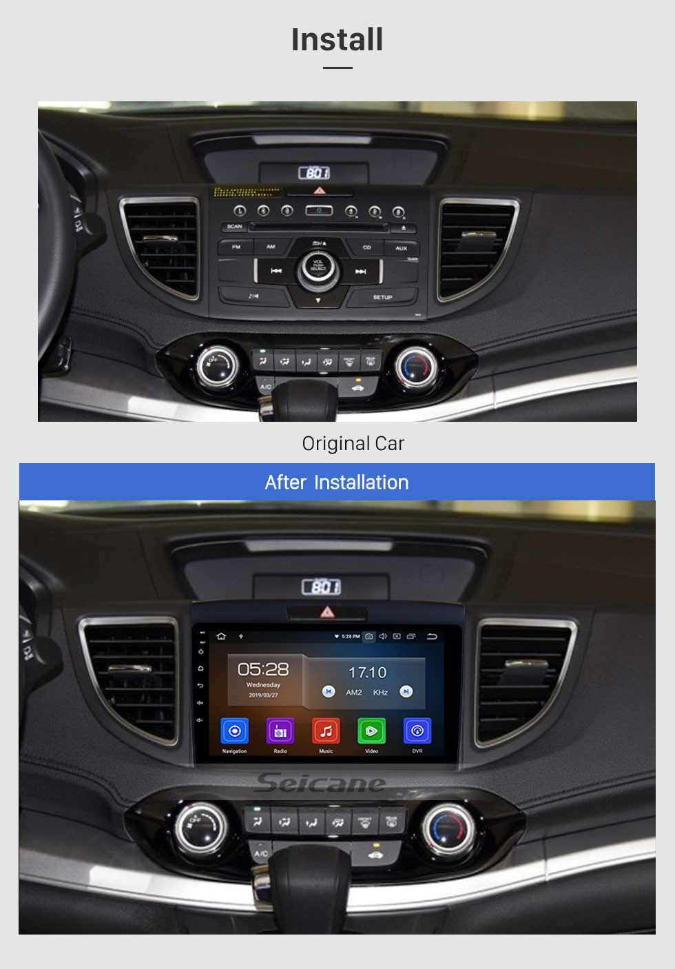 Seicane All in one 2011 2012 2013 2014 2015 Honda CRV Android 10.0 CD DVD Radio GPS Navigation system Bluetooth Music Audio USB WIFI Support Aux TPMS DVR 1080P Video Steering Wheel Control