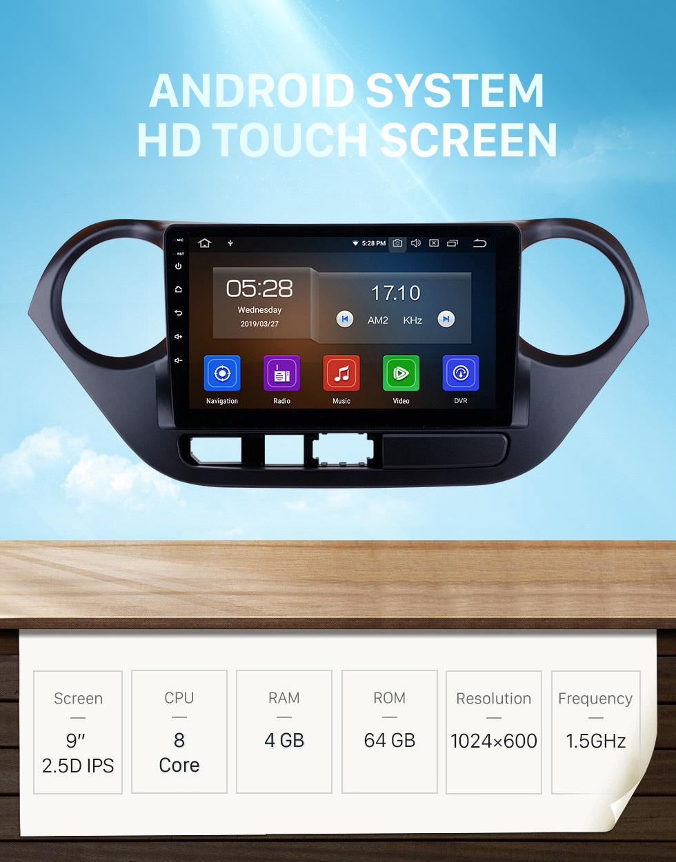 Seicane 2013 2014 2015 2016 HYUNDAI  I10 (RHD) 9 inch HD Touchscreen Android 10.0 car radio GPS Navigation System Bluetooth WIFI Mirror Link DAB+ Steering Wheel Control 1080P video DVD Player