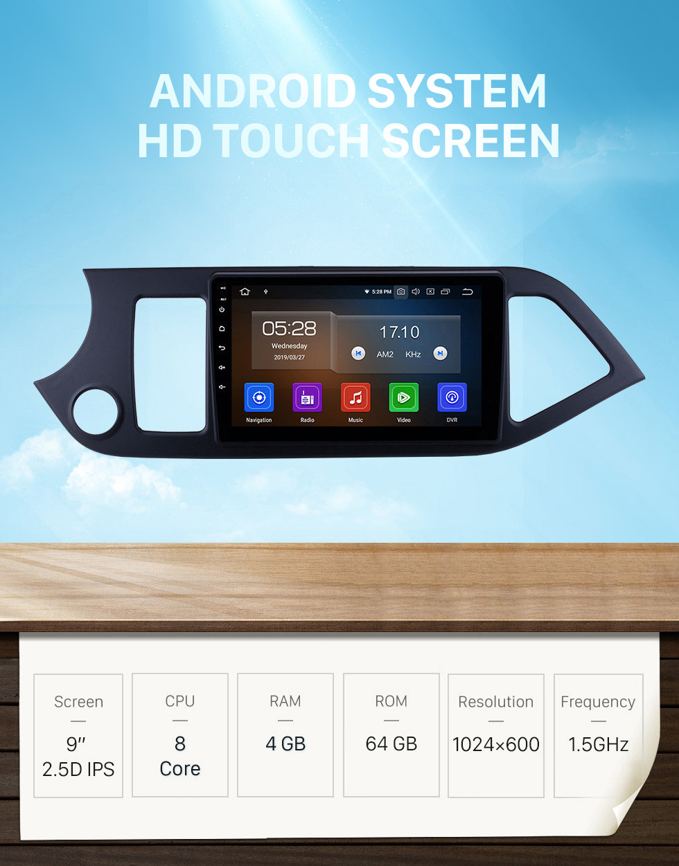 Seicane 9 Inch Android 10.0 GPS Navigation System Touch Screen For 2011-2014 KIA Morning Picanto Support Radio Bluetooth TPMS DVR OBD Mirror Link 3G WiFi TV Backup Camera Video
