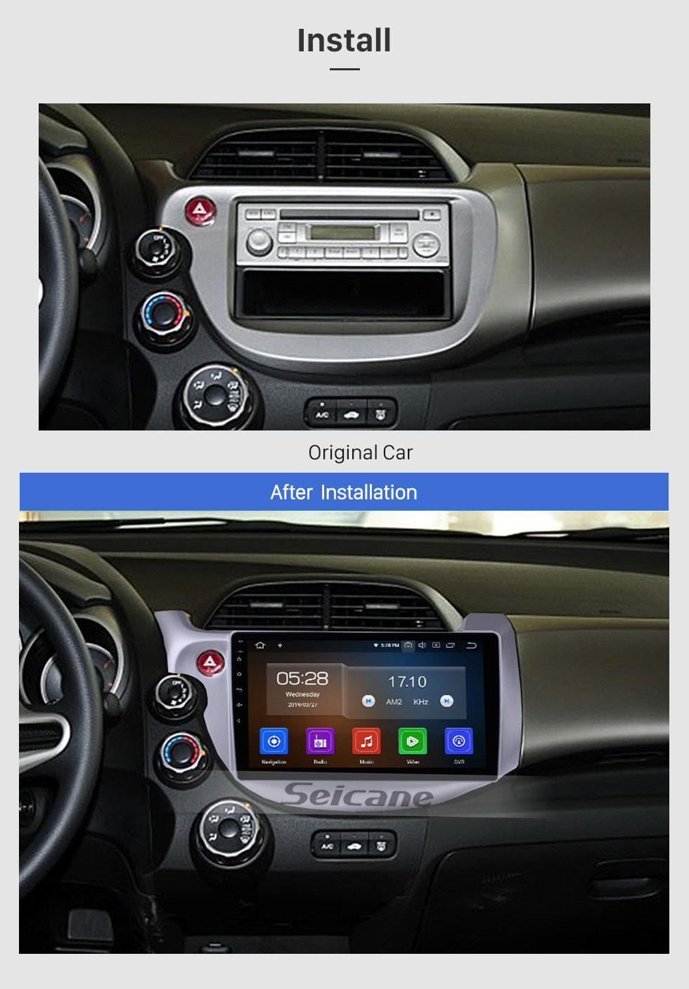 Seicane 2007-2013 Honda Fit (LHD) Android 10.0 10.1 inch GPS Navigation System with Bluetooth Radio OBD2 Backup Camera Digital TV Steering wheel Control Mirror Link
