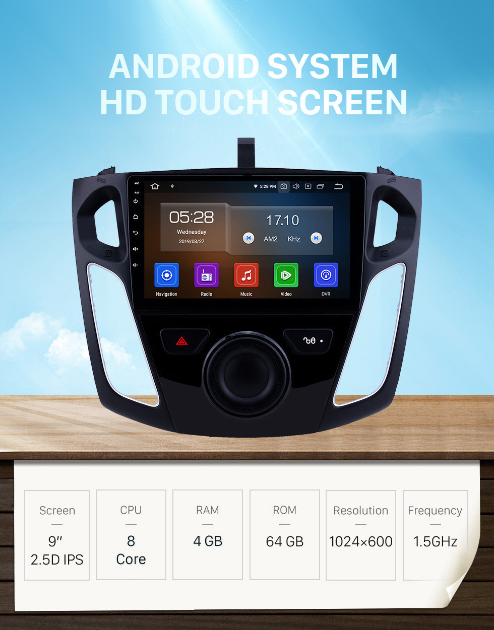 Seicane OEM 9 inch Android 10.0 Radio for 2012-2015 Ford Focus Bluetooth Wifi HD Touchscreen GPS Navigation Carplay USB support OBD2 Digital TV TPMS DAB+