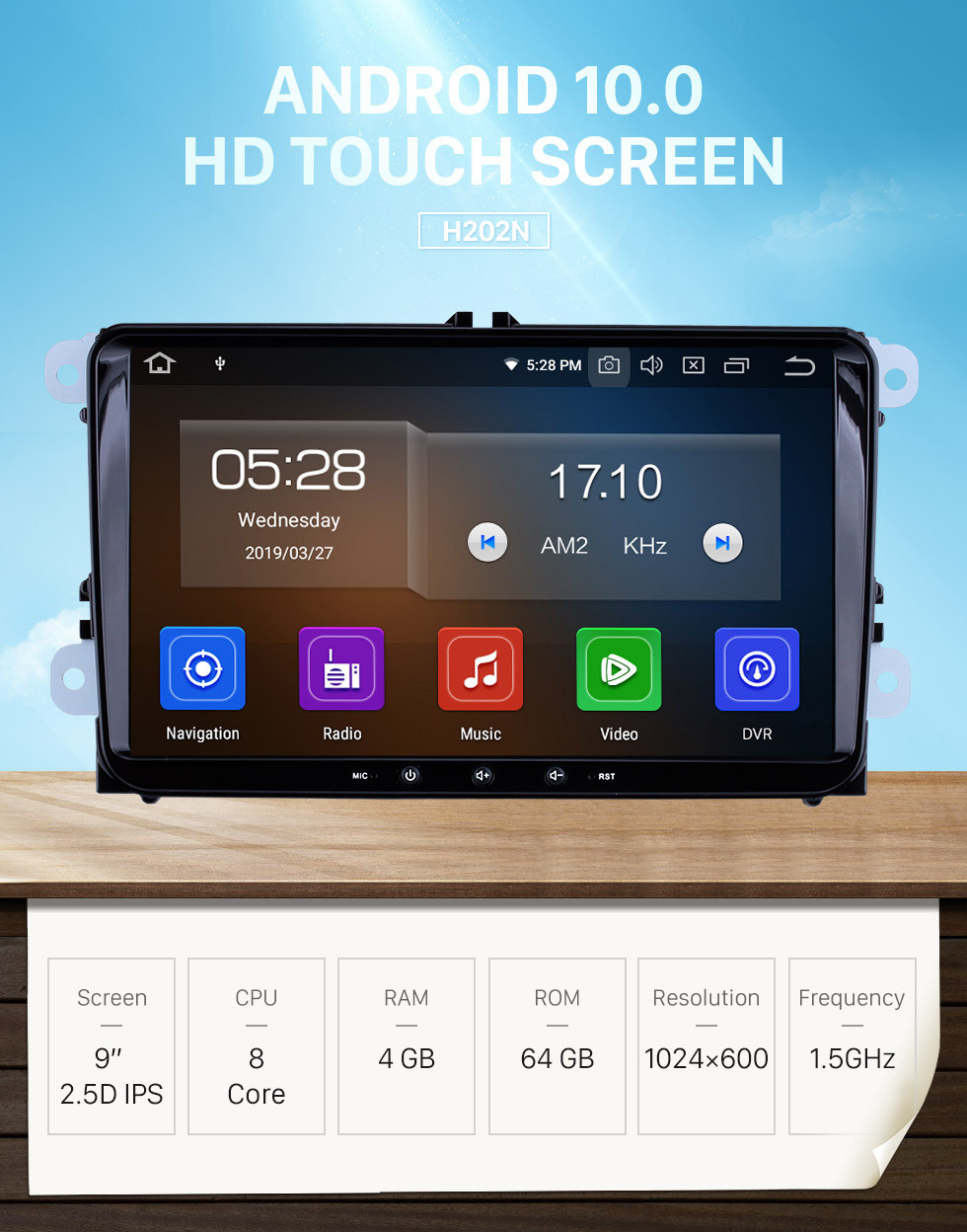 Seicane Android 10.0 Car Stereo for 2010-2013 VW Volkswagen POLO Multivan with touch Screen 3G WiFi DVD Player Bluetooth Radio Mirror Link OBD2 DVR Rearview Camera Steering wheel control