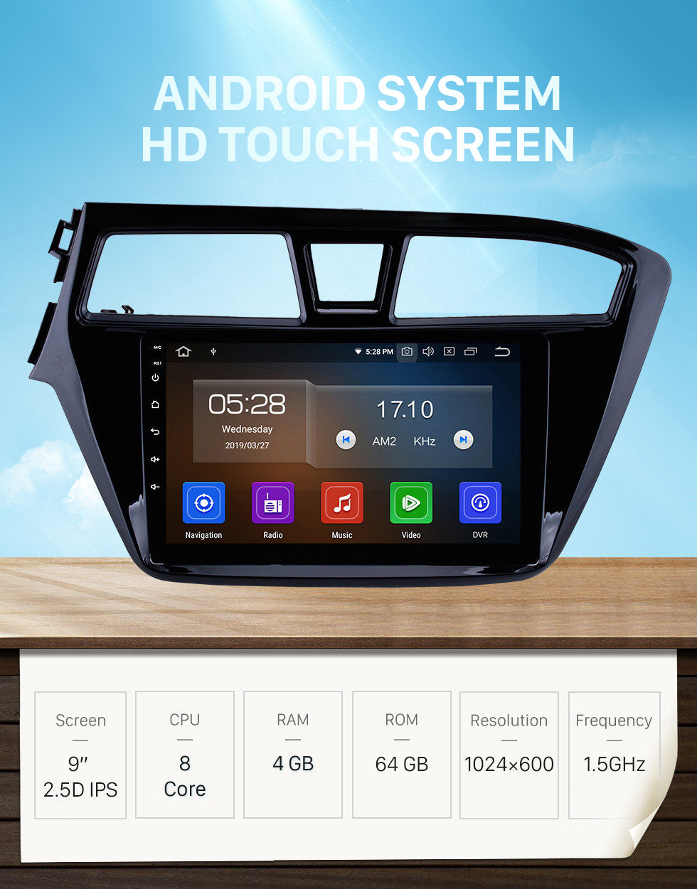 Seicane Aftermarket Android 10.0 navigation system Radio for 2014 2015 Hyundai i20 with Mirror link GPS HD 1024*600 touch screen OBD2 DVR Rearview camera TV 1080P Video 3G WIFI Steering Wheel Control Bluetooth USB SD