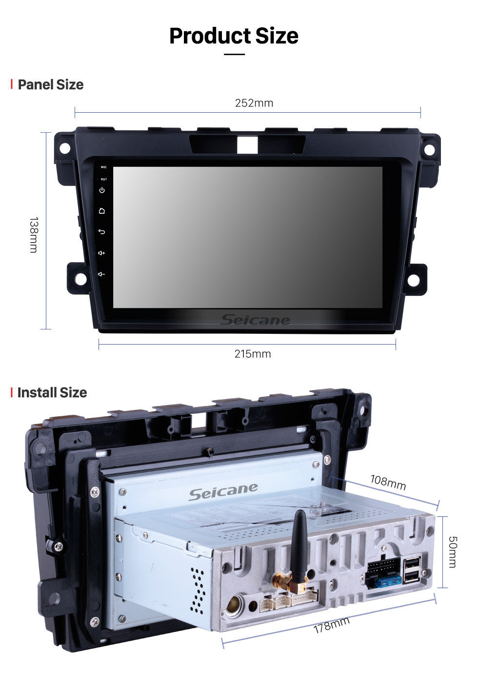 Seicane 9 Zoll Android 10.0 GPS Navigationsradiosystem für 2007 2008 2009 2010 2011 2012 2013 2014 Mazda CX-7 mit Multi-Touchscreen Spiegel Link OBD DVR Bluetooth Rückfahrkamera TV USB 3G WIFI