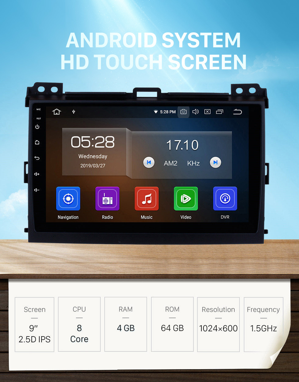 Seicane 9 inch HD Touch Screen 2002-2009 Toyota Prado Cruiser 120 Android 10.0 Radio GPS Navigation System Bluetooth Music 4G WiFi Backup Camera Mirror Link OBD2 Steering Wheel Control