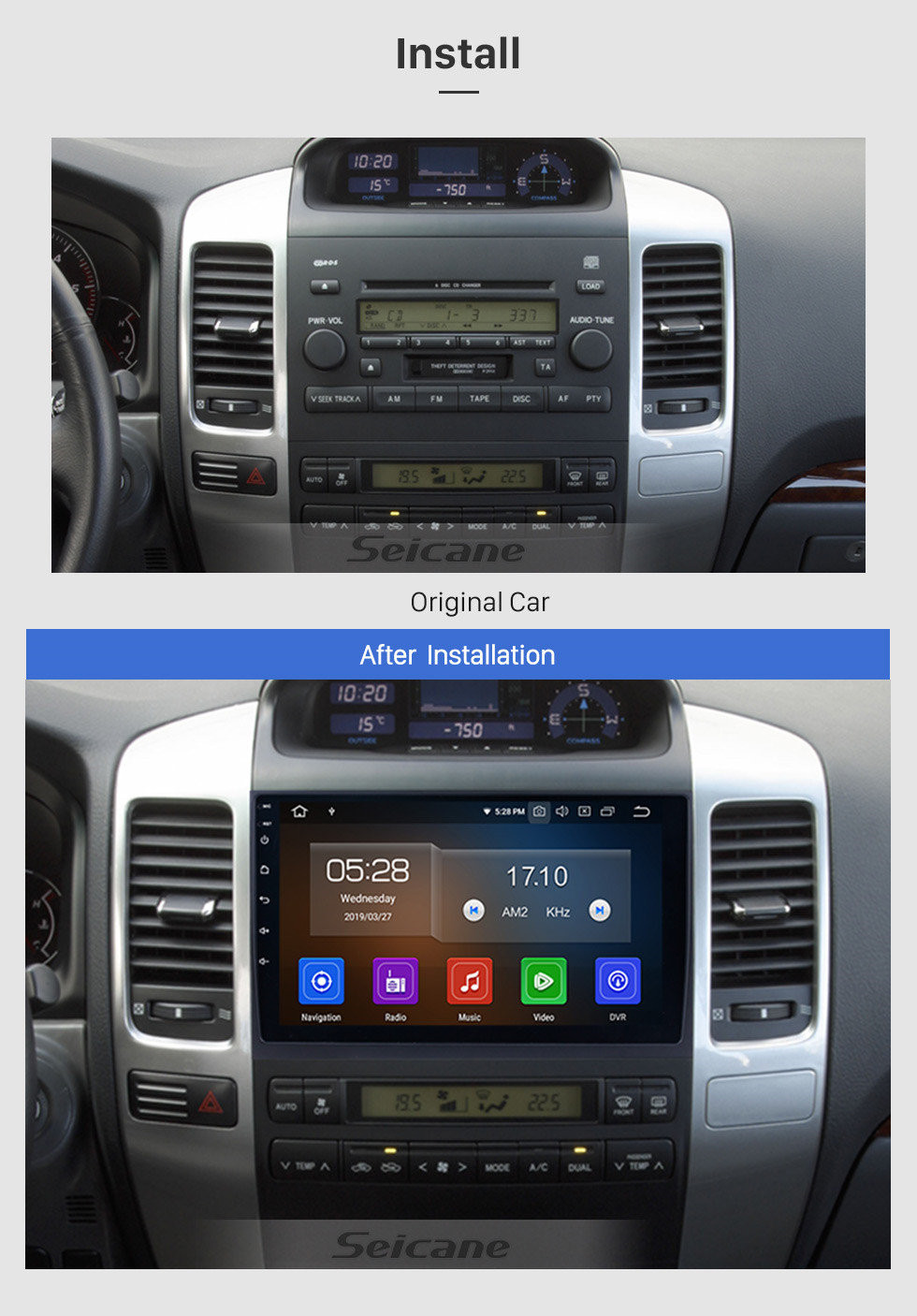 Seicane 2002-2009 Toyota Prado Cruiser Android 10.0 Autoradio Sistema de navegación en DVD con 3G WiFi Bluetooth Mirror Link OBD2 Cámara de visión trasera HD 1024 * 600 Pantalla multitáctil