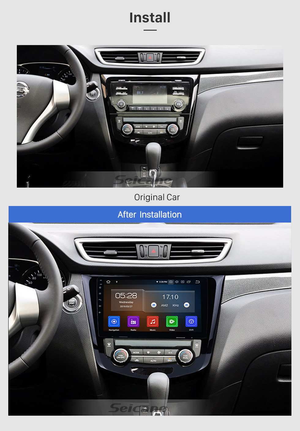 Seicane 10.1 inch HD touchscreen Radio GPS Navigation Android 10.0 for 2014 2015 Nissan X-TRAIL Support Bluetooth TV USB OBD2 WIFI Video Mirror Link DVR Steering Wheel Control
