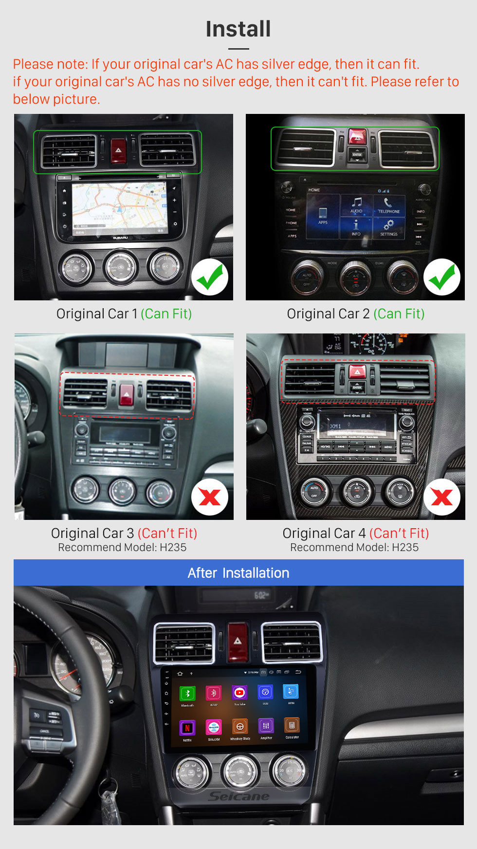 Seicane 2014 2015 2016 Subaru WRX Forester 9 inch Android 10.0 Radio GPS Navigation System Bluetooth Touch Screen 4G WiFi DAB+ TPMS DAB+ DVR OBDII DVD Player
