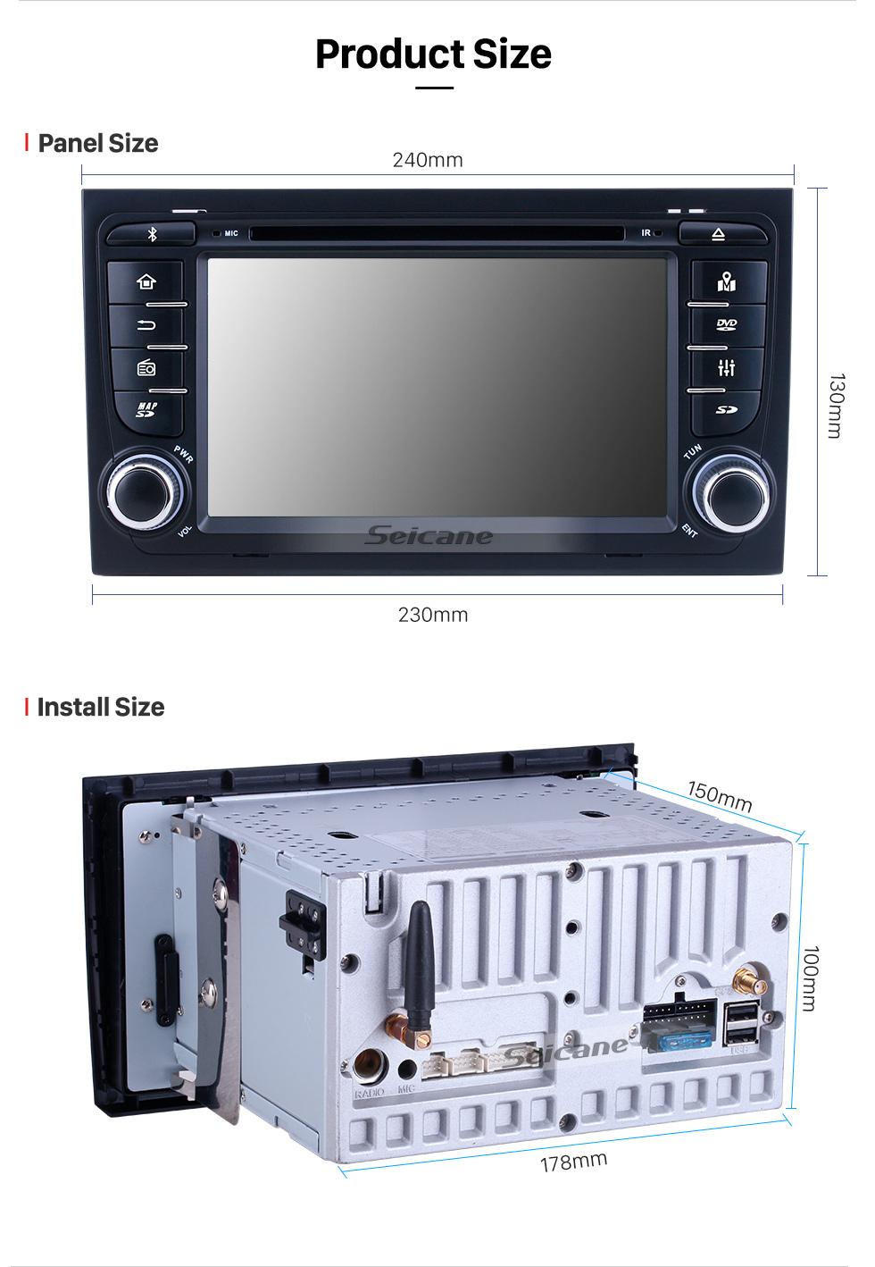 Seicane HD 1024*600 Multitáctil pantalla Android 9.0 DVD Navigation Jefe Unidad para 2003-2011 Audi A4 S4 RS4 with Radio Tuner 4G WiFi Bluetooth Música Espejo Enlace OBD2 AUX DVR