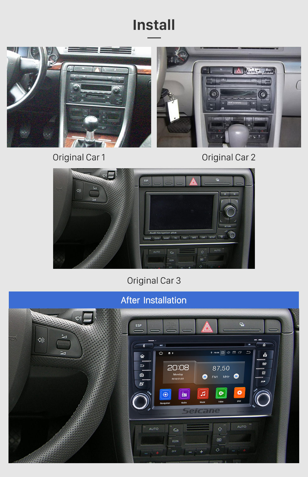 Seicane Android 10.0 For 2011 Audi A4 Radio 7 inch GPS Navigation System Bluetooth HD Touchscreen Carplay support Steering Wheel Control DSP