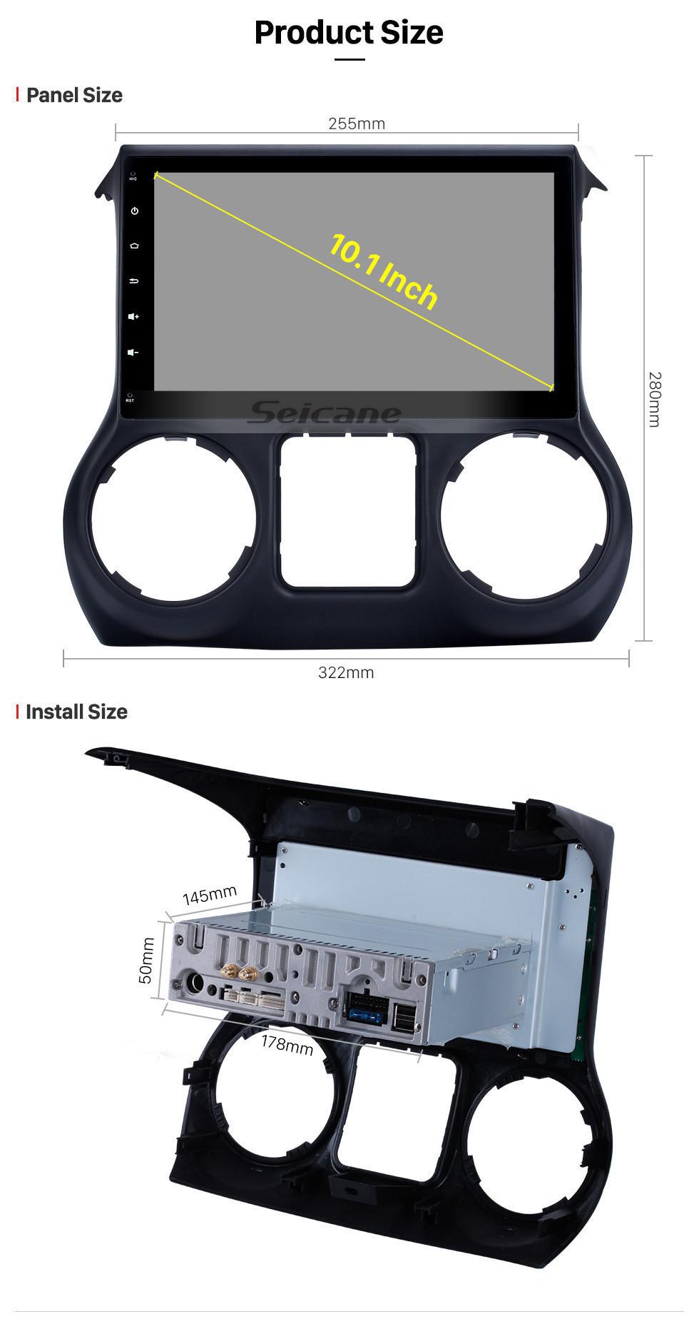 Seicane para 2011 2012 2013 2014 2015 2016 2017 JEEP Wrangler 10,1 polegadas HD Touch Screen para Android 10.0 Navegação GPS Rádio com link de espelho Bluetooth Música Controle de volante Suporte OBD2 TV digital Câmera retrovisora 4G Wifi DAB +