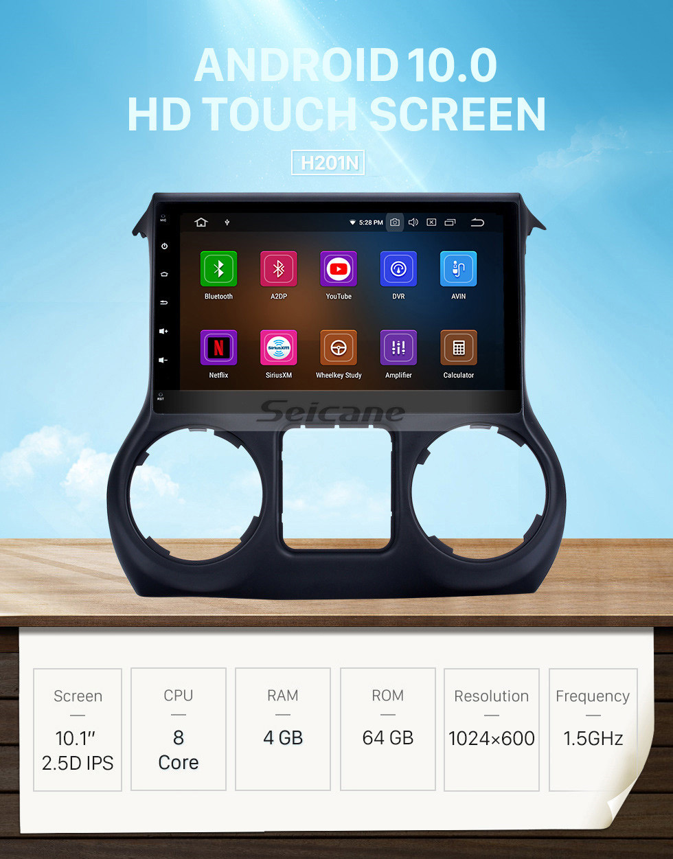 Seicane 10.1 inch HD Touch Screen 2011-2014 2015 2016 2017 JEEP Wrangler Android 10.0 GPS Navigation Radio with Mirror Link OBD2 Digital TV Wifi Bluetooth Music Steering Wheel Control Rearview Camera