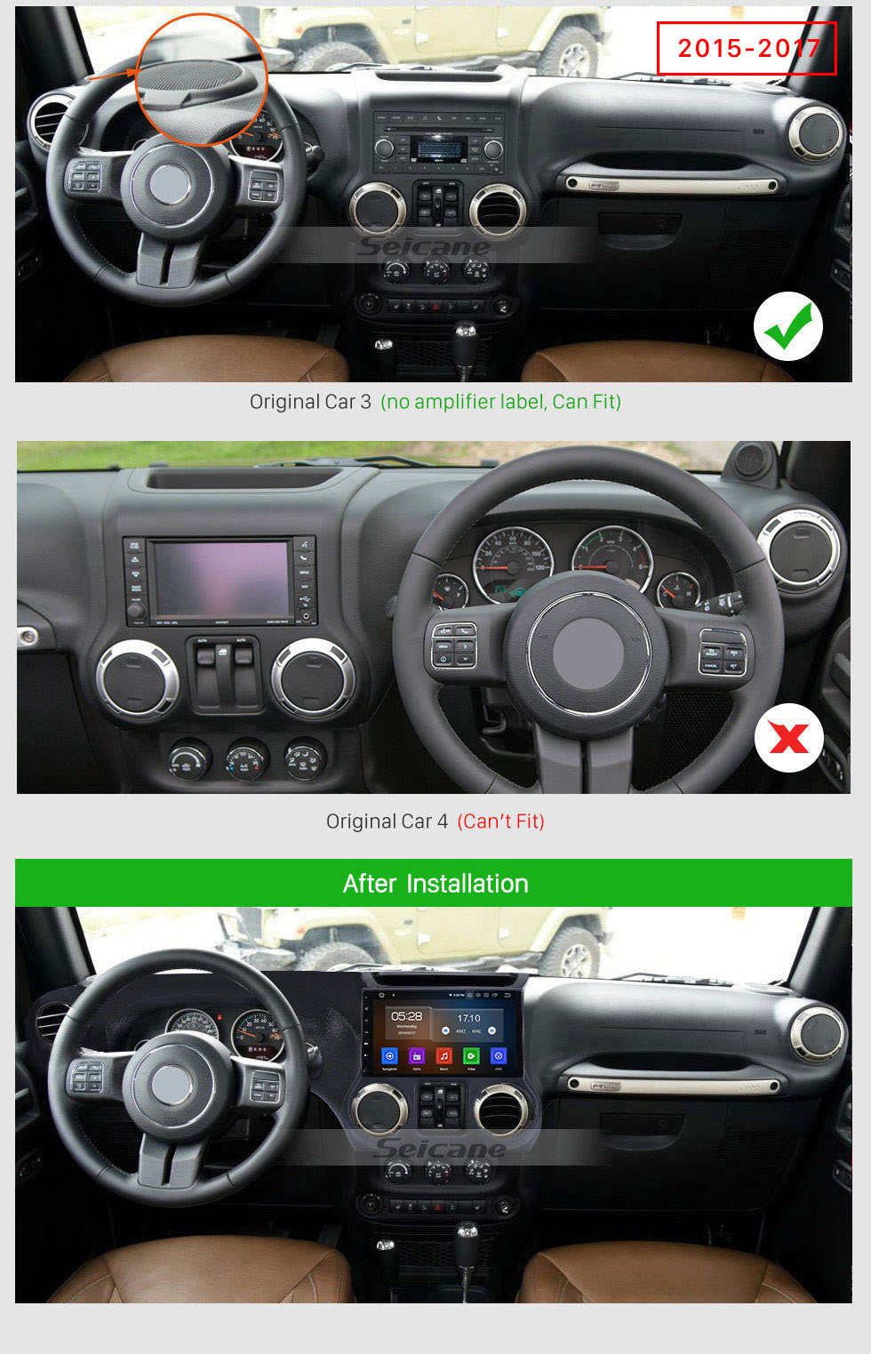 Seicane 10.1 Inch 1024*600 Android 10.0 2011 2012 2013 2014 2015 2016 2017 JEEP Wrangler Bluetooth GPS Radio Car stereo with Mirror Link Wifi Steering Wheel Control