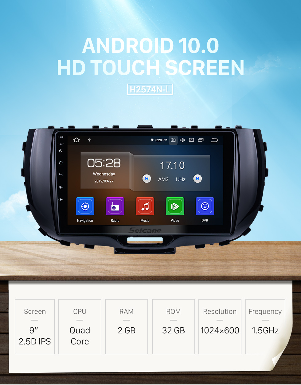 Seicane HD Touchscreen 9 inch for 2019 Kia Soul Radio Android 10.0 GPS Navigation System Bluetooth Carplay support DSP Backup camera