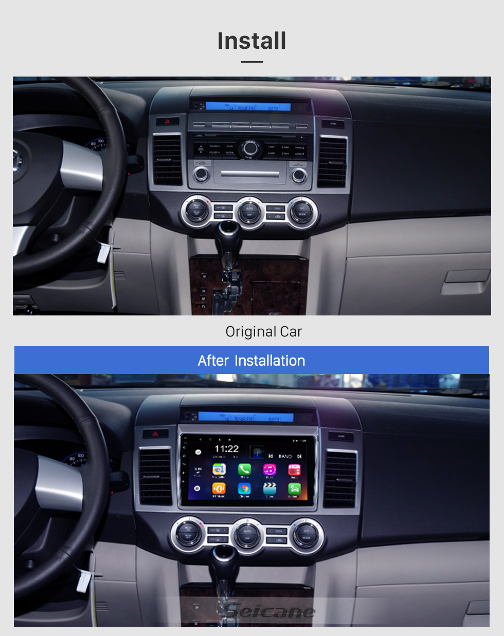 Seicane For 2011 Mazda 8 Radio 9 inch Android 10.0 HD Touchscreen GPS Navigation System with WIFI Bluetooth support Carplay TPMS