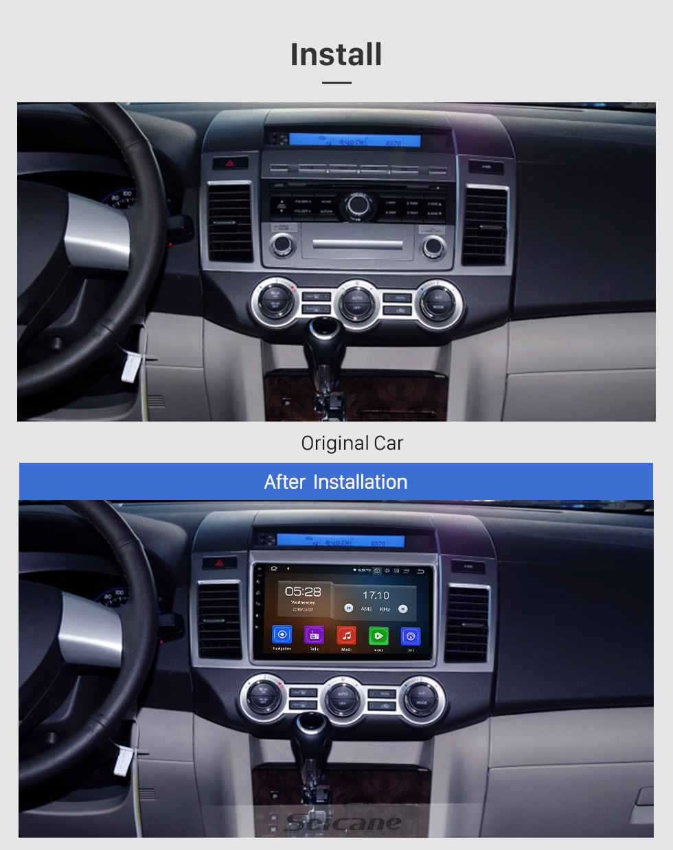 Seicane For 2011 Mazda 8 Radio 9 inch HD Touchscreen Android 10.0 with AUX Bluetooth GPS Navigation System Carplay support 1080P Video