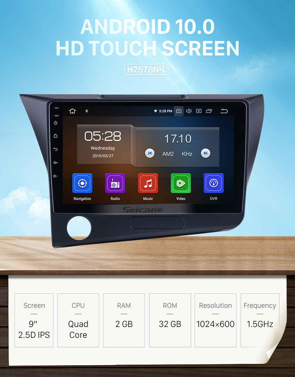 Seicane 9 inch Android 10.0 For 2010 Honda CRZ LHD Radio GPS Navigation System with USB HD Touchscreen Bluetooth Carplay support OBD2 DVR