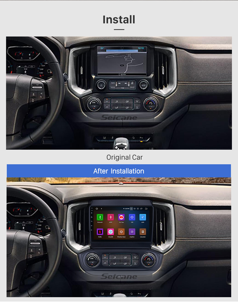 Seicane OEM Android 10.0 for 2017 Chevy Chevrolet Colorado Radio with Bluetooth 9 inch HD Touchscreen GPS Navigation System Carplay support DSP