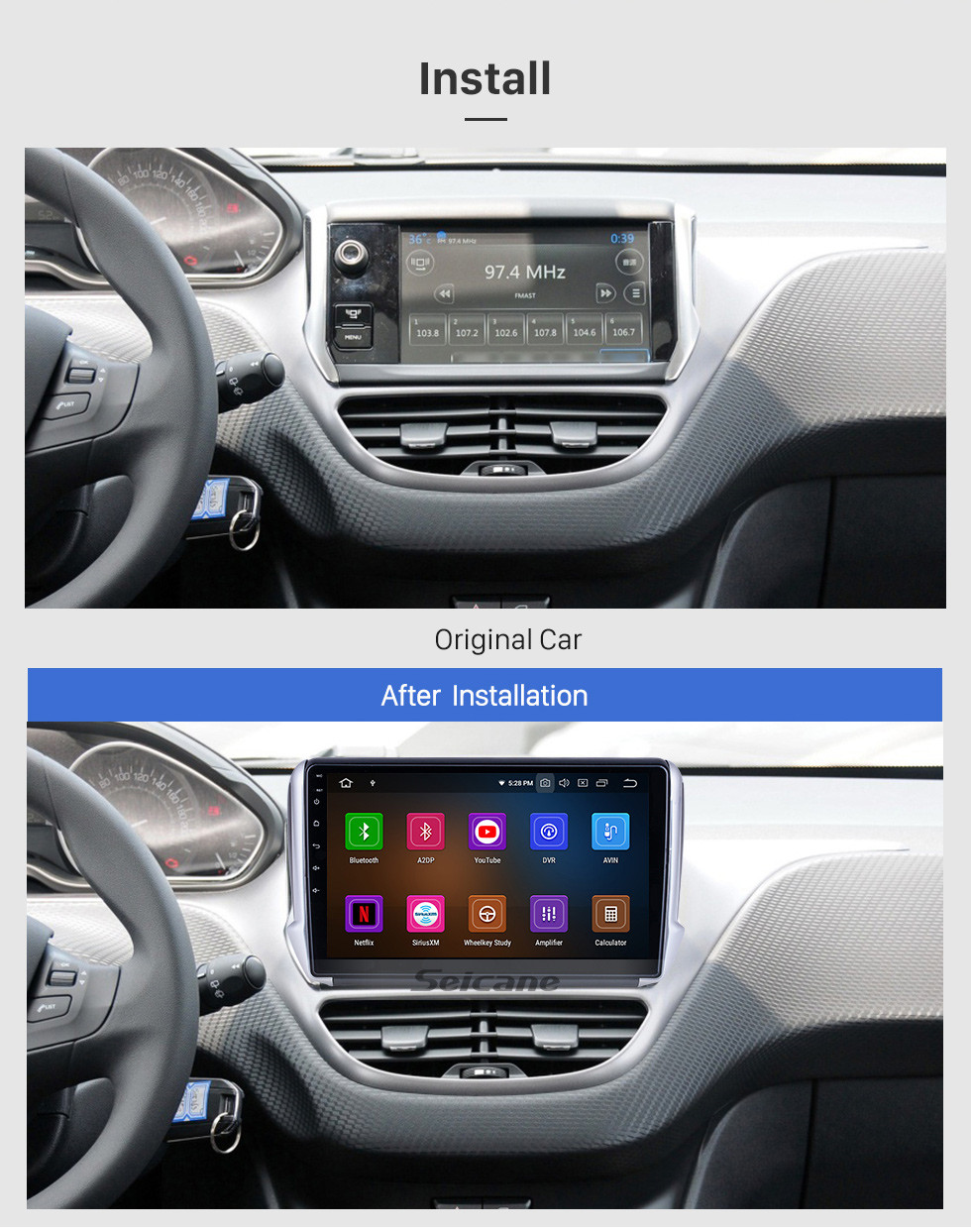 Seicane For 2014 Peugeot 2008 Radio Android 10.0 HD Touchscreen 10.1 inch with AUX Bluetooth GPS Navigation System Carplay support 1080P Video