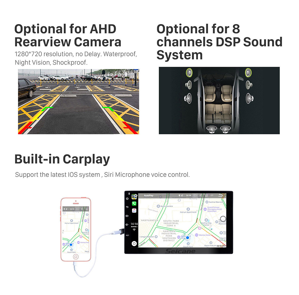 Seicane 10.1 inch Android 10.0 For 2006 Toyota Wish Radio GPS Navigation System with HD Touchscreen Bluetooth Carplay support OBD2