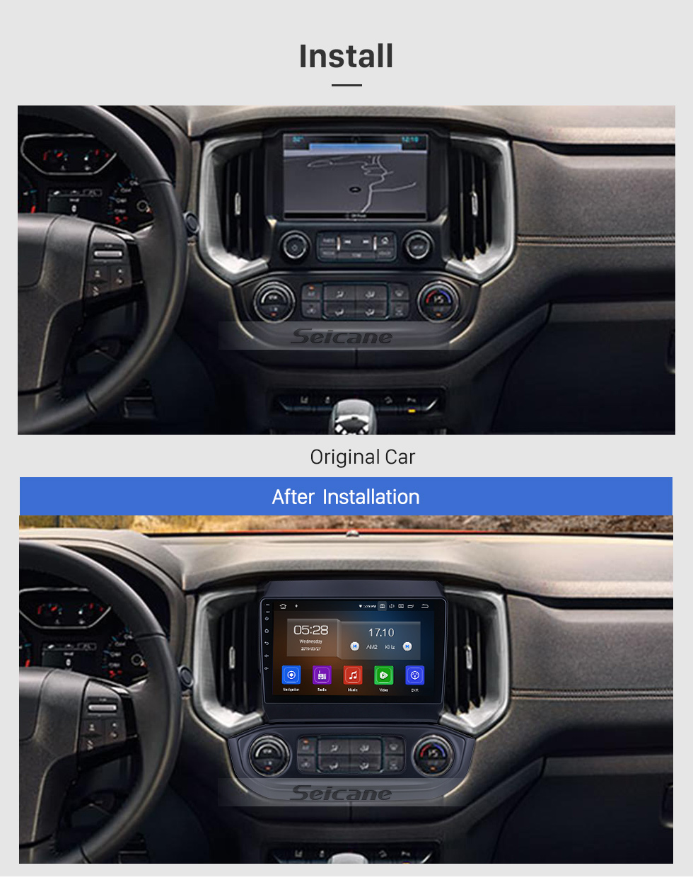 Seicane HD Touchscreen 9 inch Android 10.0 for 2017 Chevy Chevrolet Colorado Radio GPS Navigation System Bluetooth Carplay support Backup camera