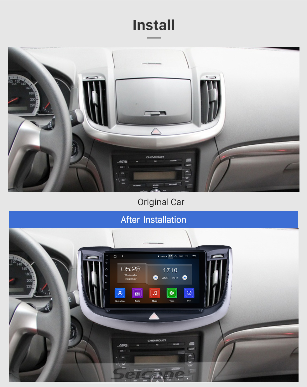 Seicane For 2013-2016 2017 Chevy Chevrolet Epica Radio Android 10.0 HD Touchscreen 9 inch with Bluetooth GPS Navigation System Carplay support 1080P